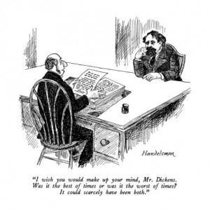 [Charles Dickens and his editor cartoon]