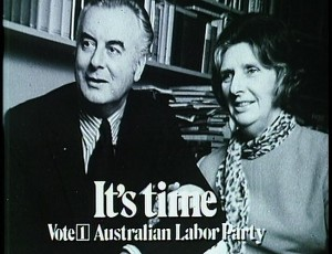 [Gough and Margaret Whitlam, It's Time campaign photo for the ALP, 1972]