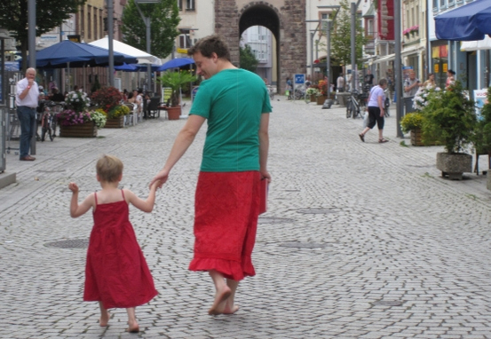 [Nils Pickert wearing a skirt to keep his son company]